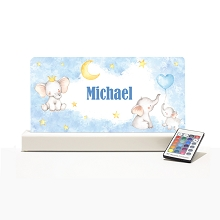 Personalised Night Light - Baby Elephants Blue