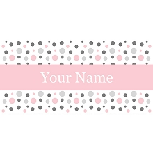 Personalised Name Sign - Pink & Grey Dots