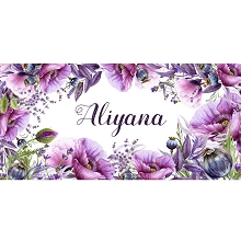 Personalised Name Sign - Floral Violet Poppy