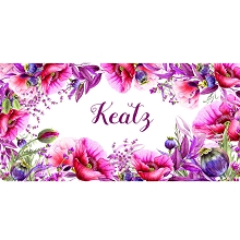 Personalised Name Sign - Floral Hot Pink Poppy