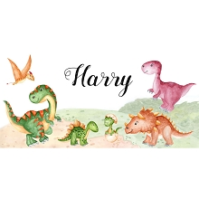 Personalised Name Sign - Dinosaurs Watercolour