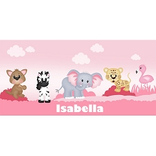 Personalised Name Sign - Baby Pink Zoo