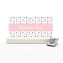 Personalised Night Light - Pink & Grey Dots