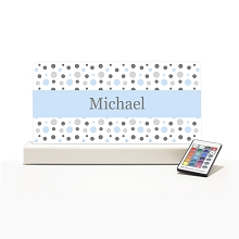 Personalised Night Light - Baby Blue & Grey Dots