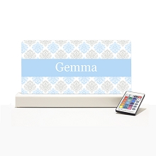 Personalised Night Light - Light Blue & Grey Elegance