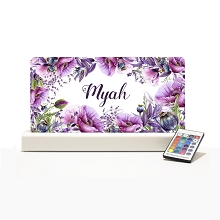 Personalised Night Light - Floral Violet Poppy