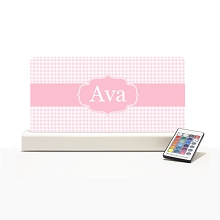 Personalised Night Light - Pink Checker Elegance
