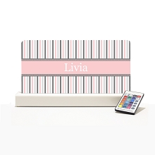 Personalised Night Light - Light Pink & Grey stripes