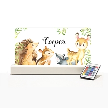 Personalised Night Light - Forest Animals White