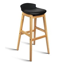 High Seat Back Barstools Black Set of 2