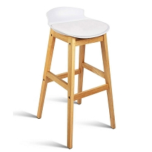 High Seat Back Barstools White Set of 2