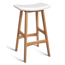 Luxury Oak Wood Barstools White Set of 2