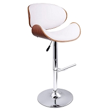 Wooden Bar Stool Padded Seat White Set of 2