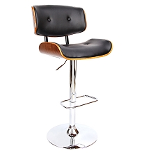 Elegant Wooden Barstool with PU Leather Seat