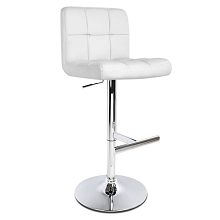 PU Leather Kitchen Bar Stool White Set of 2
