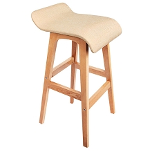 Beech Wood Fabric Bar Stools Beige Set of 2