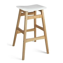 Curved Rubberwood Bar Stools White Set of 2