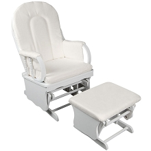 Baby Breast Feeding Sliding Glider Chair with Ottoman White