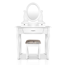 Lux 3 Drawer Dressing Table with Mirror White