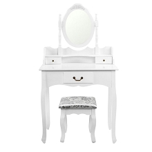 3 Drawer Dressing Table with Mirror White