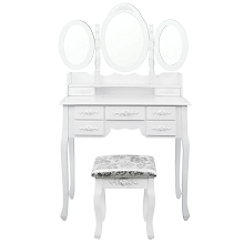 7 Drawer Dressing Table with Mirror White