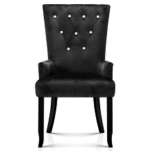 Stylish Tufted French Provincial Dining Chair Black