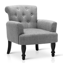 Wing Armchair French Provincial Linen Fabric Ash Grey