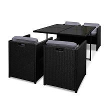 Rio Outdoor Dining 5 Seater Set Black & Grey