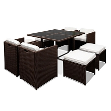 Hawaii Outddor Dining 9 Seater Set Brown & White