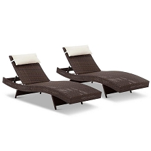 Set of 2 Outdoor Sun Lounges Brown with Beige Pillow
