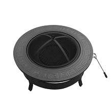 Round Outdoor Fire Pit with BBQ Grill