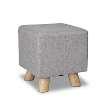 Linen Square Foot Stool Grey