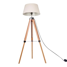 Floor Lamp Timber Tripod Beige Linen Shade Bamboo