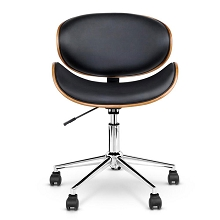 Elegant Retro Walnut Base Office Chair Black