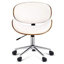 Elegant Retro Walnut Base Office Chair White