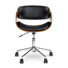 Retro PU Leather Curved Office Chair Black