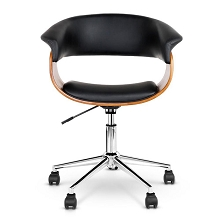 Retro PU Leather Curved Arm Office Chair Black