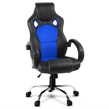 Leather Racing Office Chair Blue