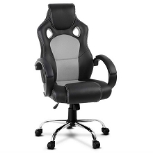 Leather Racing Office Chair Grey