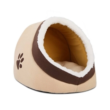 Soft Plush Igloo Bed for Cat or Small Dog Beige