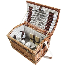 4 Person Picnic Basket Set, Cheese & Board Blanket