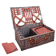 4 Person Picnic Basket Set with Cooler Bag Blanket Red