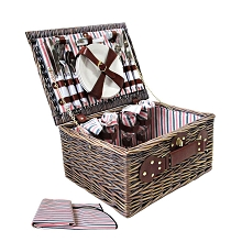 4 Person Picnic Basket Set with Blanket Stripe Design