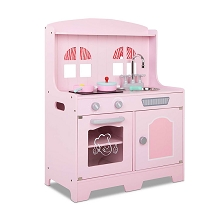 Kids Wooden Kitchen Playset Pink