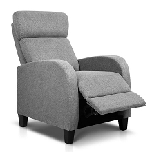 Linen Fabric Comfy Armchair Recliner  Grey