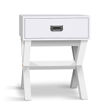 White Timber Bedside Side Table