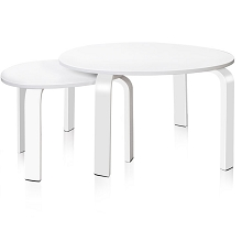 Bentwood Series Nesting Tables White Set of 2