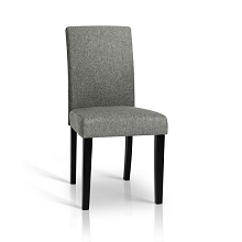 Set of 2 Linen Fabric Dining Chairs Grey