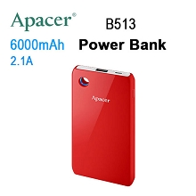 APACER Mobile Power Bank B513 6000mAh Red RP