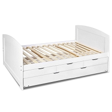 Wooden Single Bed Frame with Trundle & Drawers White